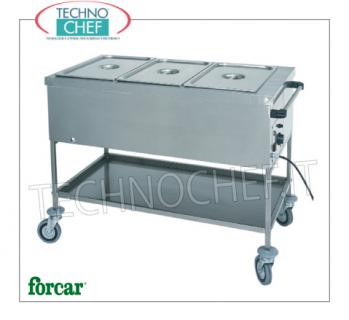 FORCAR - Technochef, Carro de secado caliente, Mod. CTS1757 Carro térmico seco en acero inoxidable, FORCAR, con tanque para 1 recipiente Gastro-Norm 1/1, h 200 mm (excluido) y estante inferior, termostato ajustable + 30 ° / + 90 ° C, V.230 / 1, Kw .1.00, dim.mm.560x650x850h